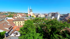 Aerial view of central Zagreb with Zagreb's cathedral. Stock Footage