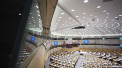 Stock Video Footage of Plenary Chamber at the European Parliament
