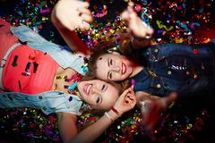 Confetti girls - stock photo