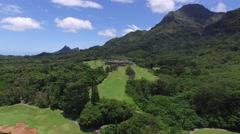 Koolau Golf Club, Mountains, Oahu, Hawaii Stock Footage