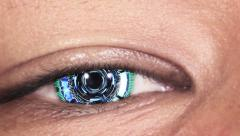 Close-up of asian cyber eye Stock Footage