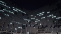 Stock Video Footage of The European Commission at night