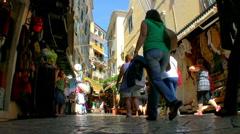 Narrow shopping street Corfu Town. Stock Footage