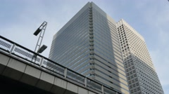Office buildings and blue sky in Shinjuku district, Tokyo, Japan - stock footage