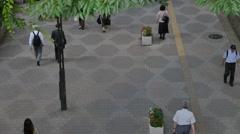 Above view of people walking in Shinjuku district, Tokyo, Japan Stock Footage