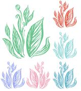 Plant line art doodle style Stock Illustration