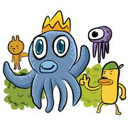 illustration of an octopus and friend in doodle style - stock illustration