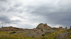 Wild Landscape With Rock And Clouds Stock Footage