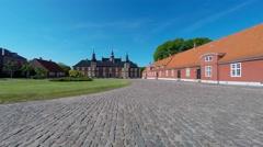 Beautiful cobblestones in front of Jaegerspris Castle - stock footage