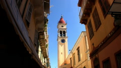 Church clock tower in Corfu Town Stock Footage