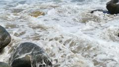 Super Slow Motion Waves 20 Rocky Shore 96fps Stock Footage