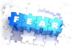 Fear - White Word on Blue Puzzles Stock Illustration