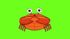 Orange Crab walking and talking on green screen animation - stock footage
