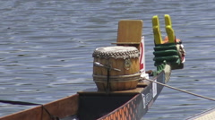 Dragon Boat Figurehead and Drum Stock Footage