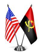 USA and Angola - Miniature Flags - stock illustration