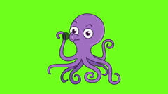 Purple Octopus nozzle ink  animation on green screen Stock Footage