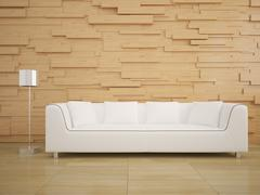 Sofa and wood wall in living room modern interior style design Stock Illustration