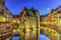 Palais de l'Ile jail and canal in Annecy old city, France, HDR Stock Photos