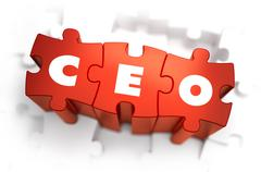 CEO - White Word on Red Puzzles - stock illustration