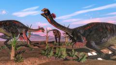 Tyrannosaurus rex attacking gigantoraptor dinosaur and eggs - 3D render - stock illustration