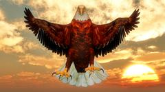 Eagle by sunset - 3D render Piirros