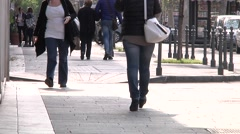 Pedestrians on sidewalk in Catania, Sicily Stock Footage