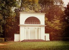 White rotunda in the park - stock photo