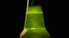 Green Bottle neck with a lot of bubbles Stock Footage