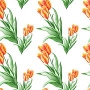 Classical Wallpaper Pattern with Red Tulips - stock illustration