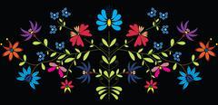 European Culture Inspired Folk Floral pattern in color on black background Stock Illustration