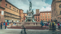 Bologna - The statue of the god Neptune - long shot Stock Footage