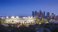 Dodger Stadium with downtown Los Angeles skyline background Hyperlapse timelapse Stock Footage