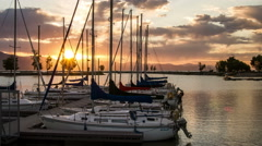 Time lapse of Sunset at Harbor Stock Footage