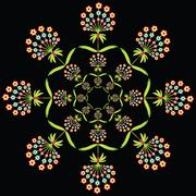 Round floral european culture inspired  embroidery on black background - stock illustration