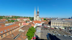 Aerial view of central Zagreb with Zagreb's cathedral and Dolac market. Stock Footage