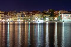 The old port in evening in city of Chania. Stock Photos