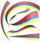 colombia set  flag - stock illustration