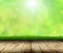 Stock Photo of green grass and wood floor spring background