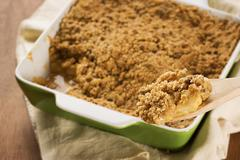 Spoonful of Apple Crisp or Crumble - stock photo