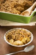 Bowl of Apple Crisp or Crumble Stock Photos