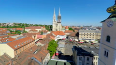Moving away aerial view of central Zagreb and cathedral. Stock Footage