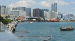 Industrial side to Victoria harbour in HK 4K Stock Footage