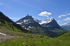 Stock Photo of Mountains on a Sunny Day in Glacier National Park