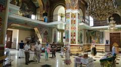 Christian chirch, Ukraine. Inside. People. Stock Footage