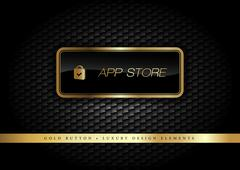 Gold Button on the luxury black background. Graphic elements. - stock illustration