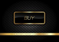Gold Button buy on the luxury black background. Graphic elements. - stock illustration