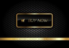 Gold Button buy now on the luxury black background. Graphic elements. Stock Illustration