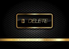 Gold Button on the luxury black background. Graphic elements. Stock Illustration