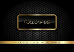 Gold Button follow follow us on the luxury black background. Graphic elements. Stock Illustration