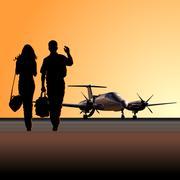 Civil utility aircraft at aerodrome Stock Illustration